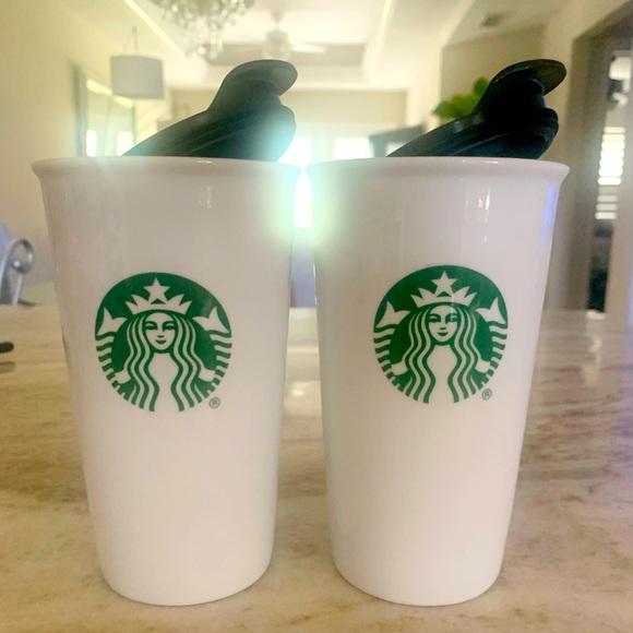 STARBUCKS ceramic with lids